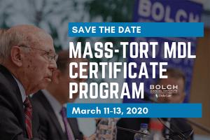 Mass-Tort MDL Certificate - March 11-13, 2020